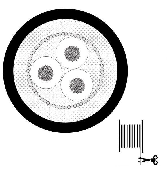 Mogami 2790 Schaltdraht, flexibel, 3-adrig mit Schirm (3x #28AWG), Ø 2,45 mm